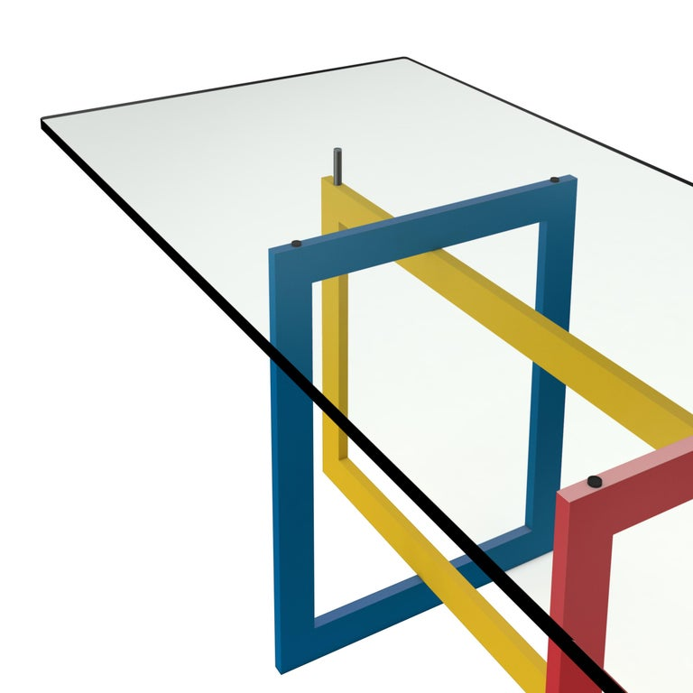 Italian Contemporary Jonathan High Table with Tempered Crystal Top, Mondrian Version For Sale