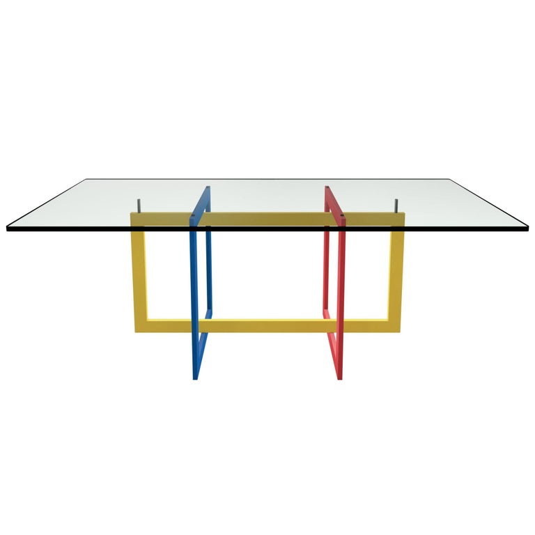 Contemporary Jonathan High Table with Tempered Crystal Top, Mondrian Version For Sale