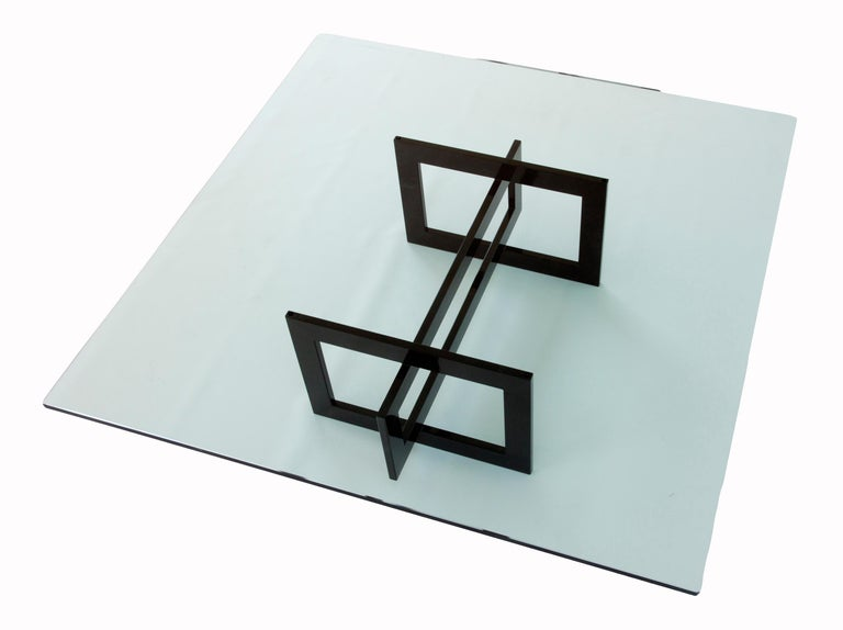 Mid-Century Modern Contemporary Jonathan Low Table with Tempered Crystal Top For Sale