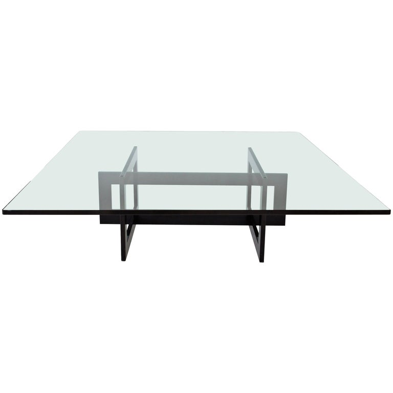 Contemporary Jonathan Low Table with Tempered Crystal Top For Sale