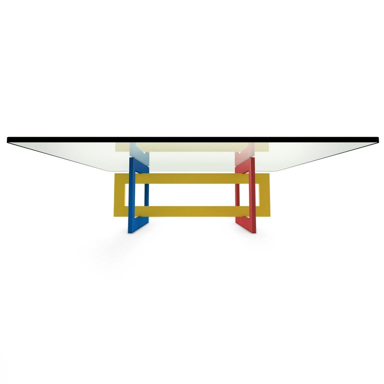 Mid-Century Modern Contemporary Jonathan Low Table with Tempered Crystal Top, Mondrian Version For Sale