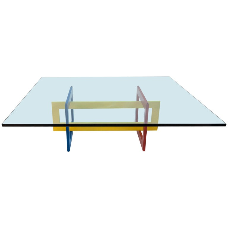 Jonathan low table with tempered crystal top, Mondrian version, new