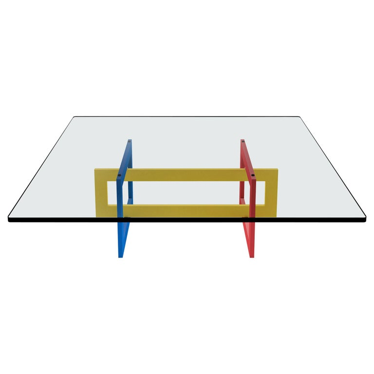 Contemporary Jonathan Low Table with Tempered Crystal Top, Mondrian Version For Sale