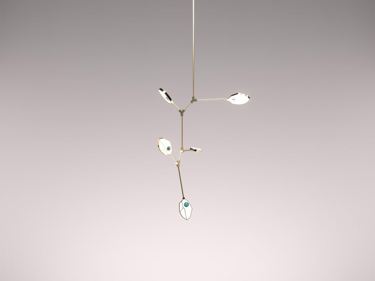 Contemporary Joni Config. 1 LED Chandelier with Crystal and Páua Shell  For Sale 1