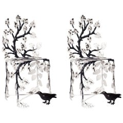 Contemporary Joy de Rohan Chabot Black and White Forged Metal Winter Chairs