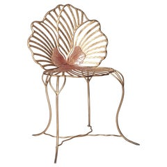 Contemporary Joy de Rohan Chabot Forged Metal Pink and Gold Pansy Chair