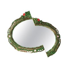 Contemporary Jungle Style Wall Mirror from an Oval Sawn Frame