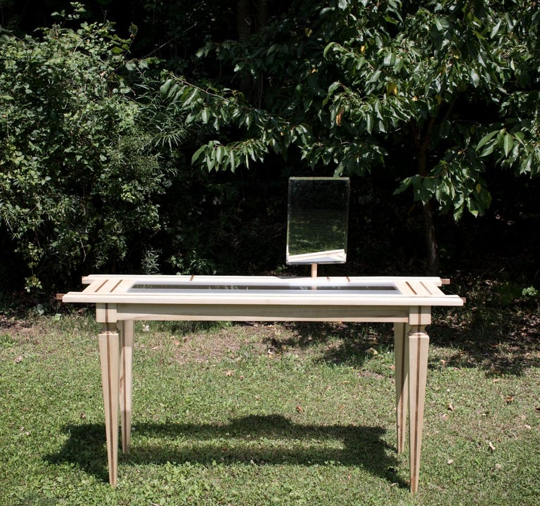 Contemporary Just Contrast Console in Mixed Woods and Acrylic For Sale 4