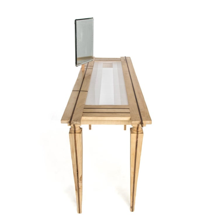 Neoclassical Contemporary Just Contrast Console in Mixed Woods and Acrylic For Sale