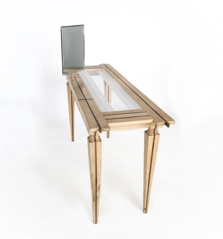 Italian Contemporary Just Contrast Console in Mixed Woods and Acrylic For Sale