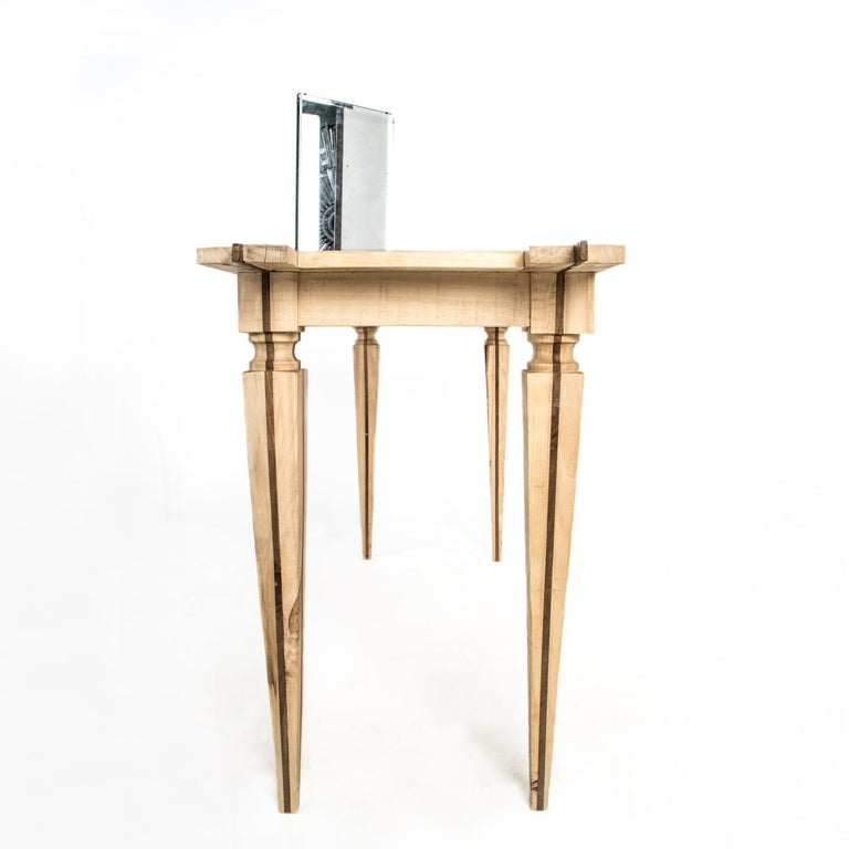Marquetry Contemporary Just Contrast Console in Mixed Woods and Acrylic For Sale