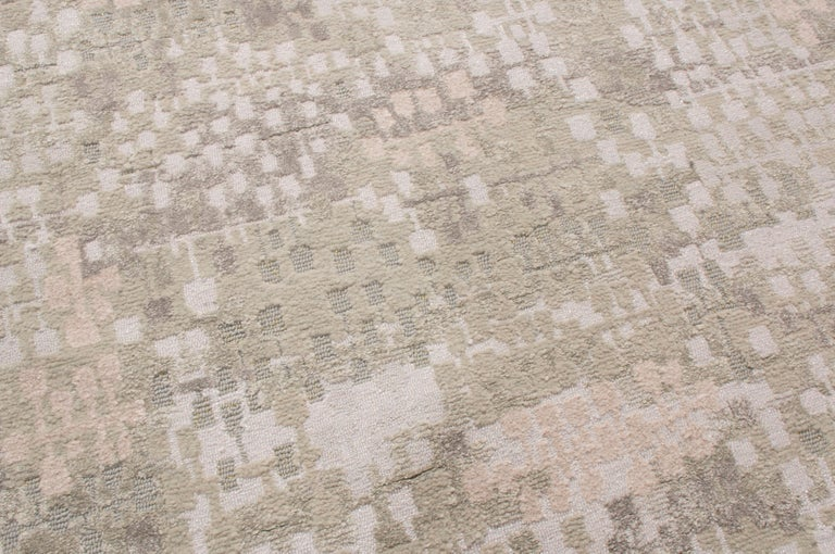Indian Contemporary Kaleidoscope Gray and Beige Wool Rug For Sale