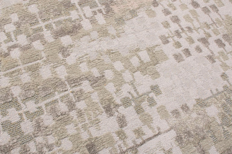 Contemporary Kaleidoscope Gray and Beige Wool Rug In Good Condition For Sale In Long Island City, NY