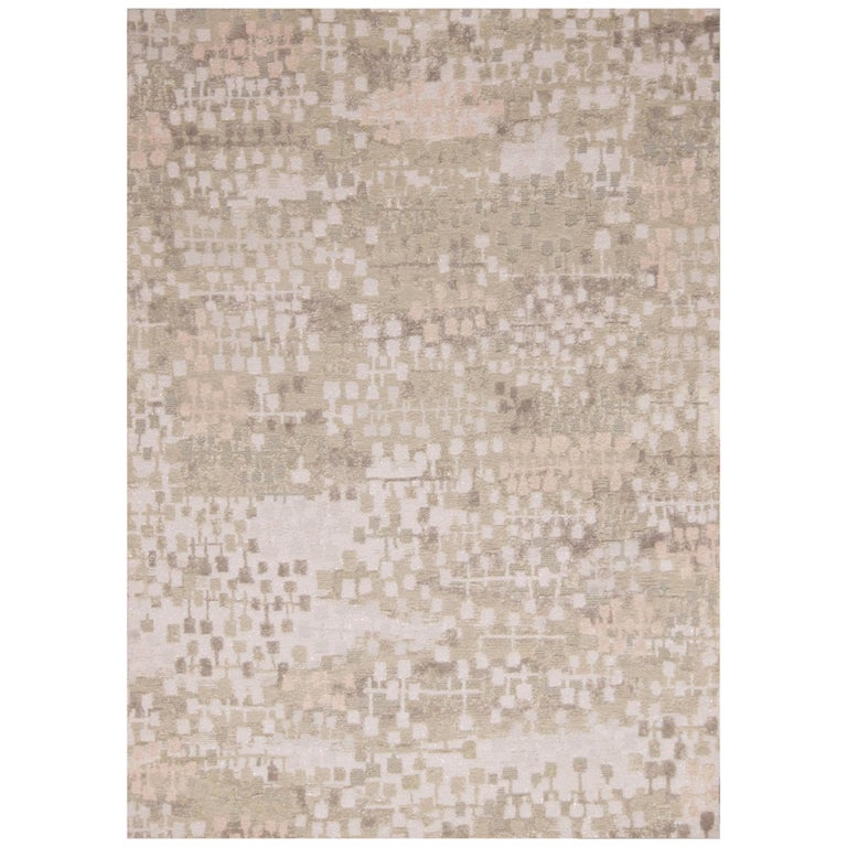 Contemporary Kaleidoscope Gray and Beige Wool Rug For Sale