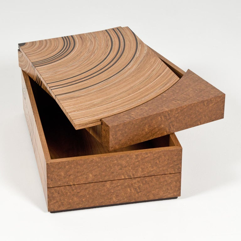 Contemporary Keepsake Box in Elm and Fumed Oak 'Family Tree' by Edward Johnson For Sale 1