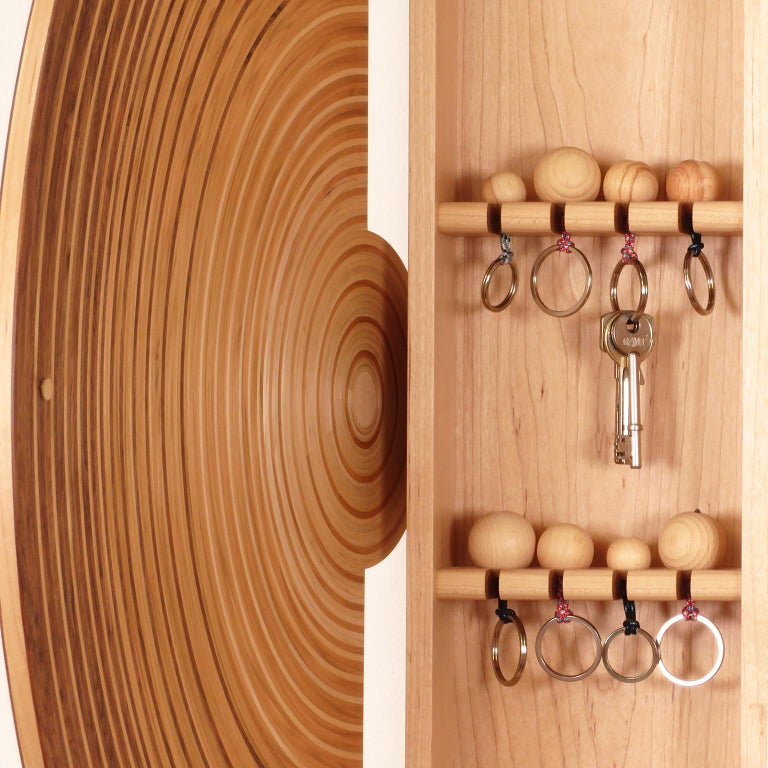 Contemporary Key Cabinet in Walnut, Cherry & Maple by Edward Johnson, in Stock In New Condition For Sale In Bosham, GB