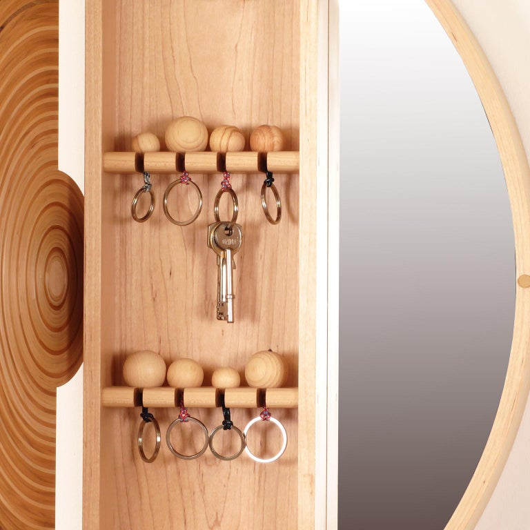 Contemporary Key Cabinet in Walnut, Cherry & Maple by Edward Johnson, in Stock For Sale 1