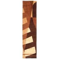 Contemporary Key Largo Design Brown Beige Wool Silk Rug Geometric Pattern