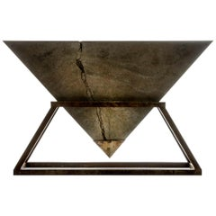 Contemporary Kheops Console Table in Concrete and Aluminum