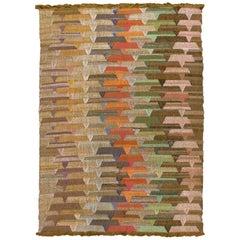 Contemporary Kilim Abstract Multicolor Handmade Wool Rug