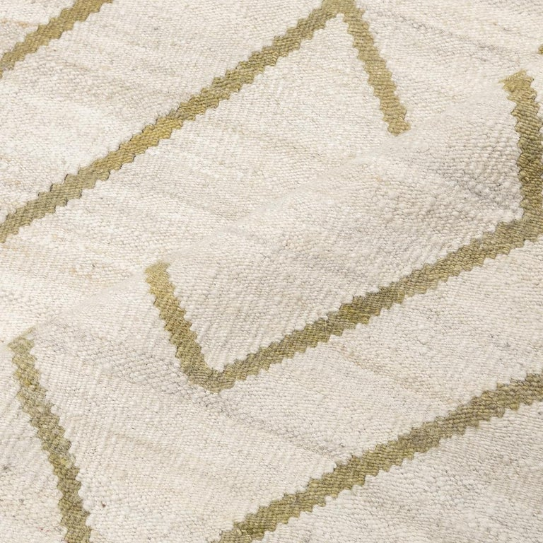 Contemporary Kilim, Bereber Design over Wool with Rhombus Symmetries For Sale 8