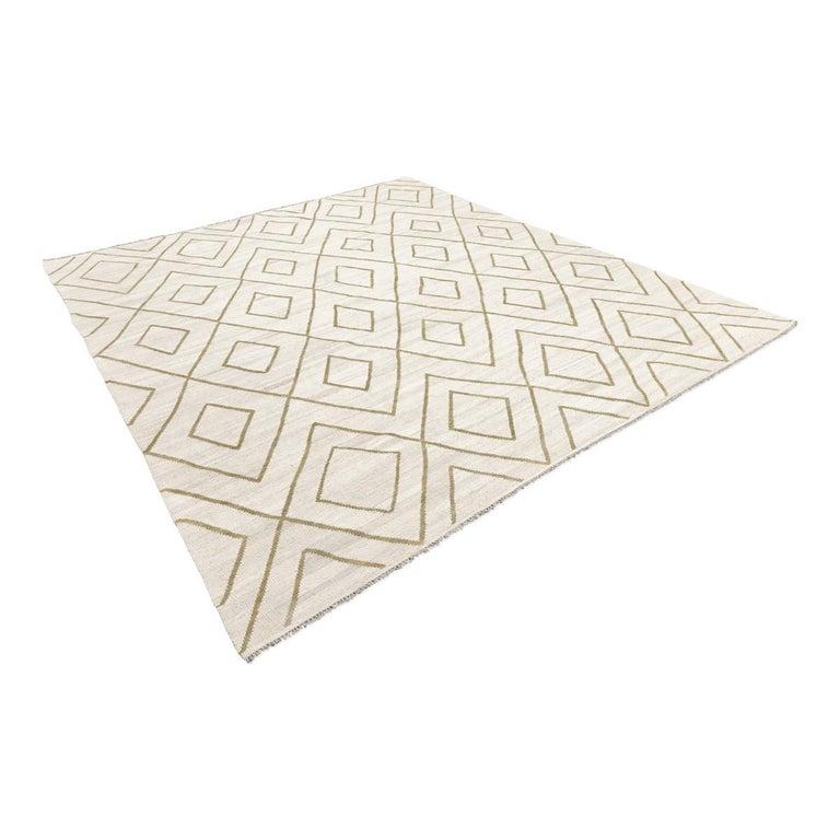 Pakistani Contemporary Kilim, Bereber Design over Wool with Rhombus Symmetries For Sale