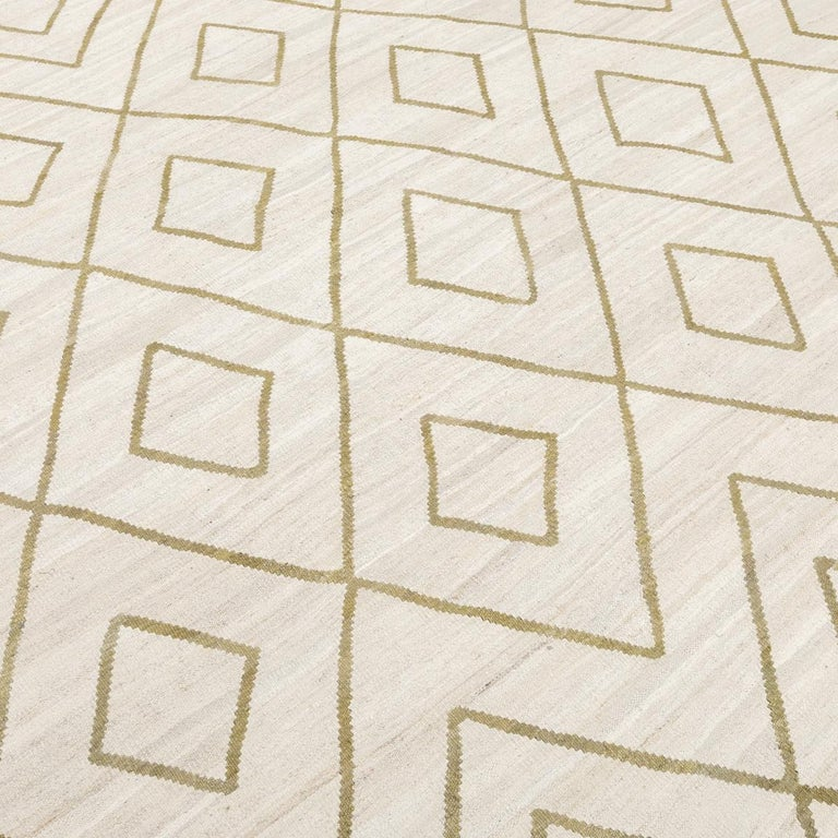 Contemporary Kilim, Bereber Design over Wool with Rhombus Symmetries For Sale 1