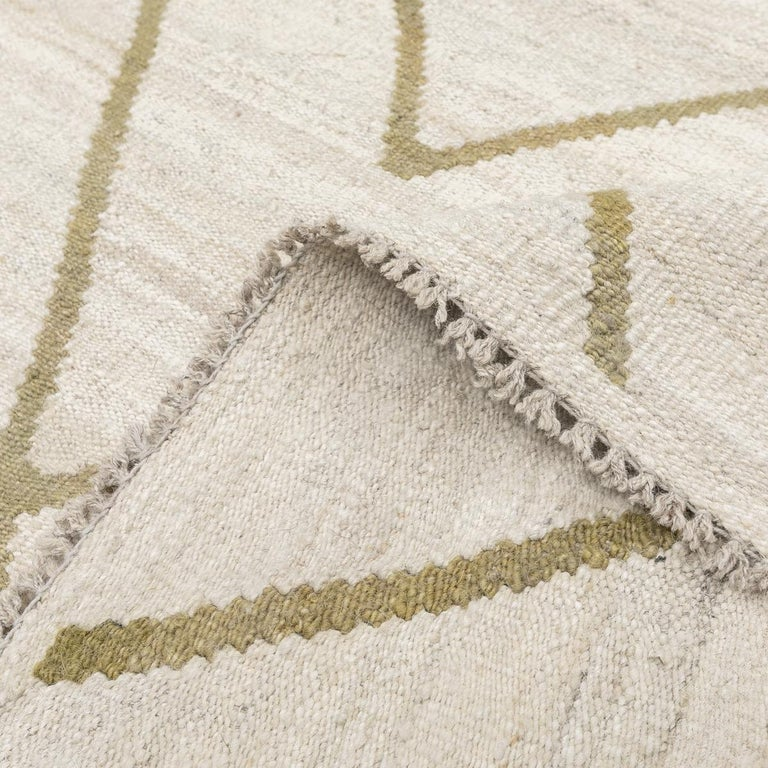 Contemporary Kilim, Bereber Design over Wool with Rhombus Symmetries For Sale 2