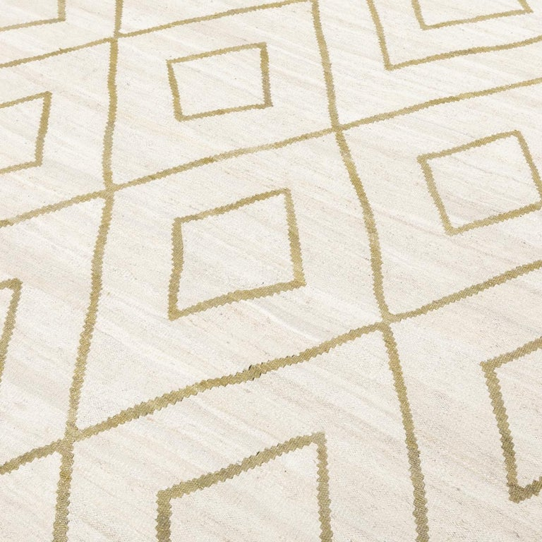 Contemporary Kilim, Bereber Design over Wool with Rhombus Symmetries For Sale 3