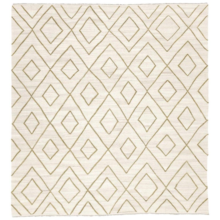 Contemporary Kilim, Bereber Design over Wool with Rhombus Symmetries For Sale