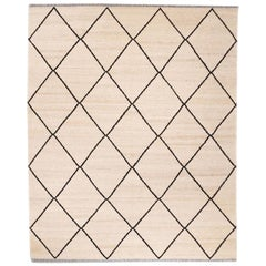 Contemporary Kilim, Black and Beige Colors