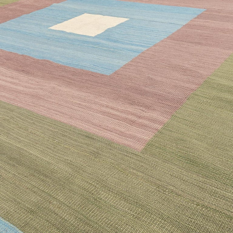 Contemporary Kilim, Blue and Green Design over Wool For Sale 6