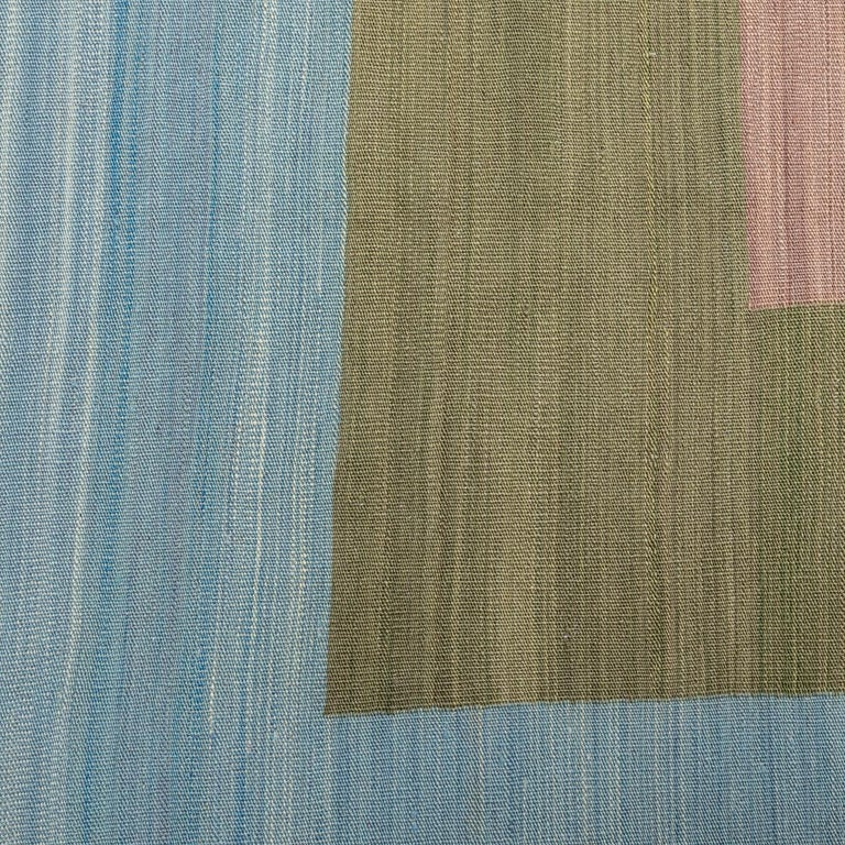 Contemporary Kilim, Blue and Green Design over Wool For Sale 7