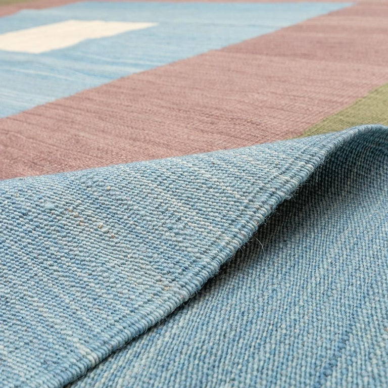 Contemporary Kilim, Blue and Green Design over Wool For Sale 8