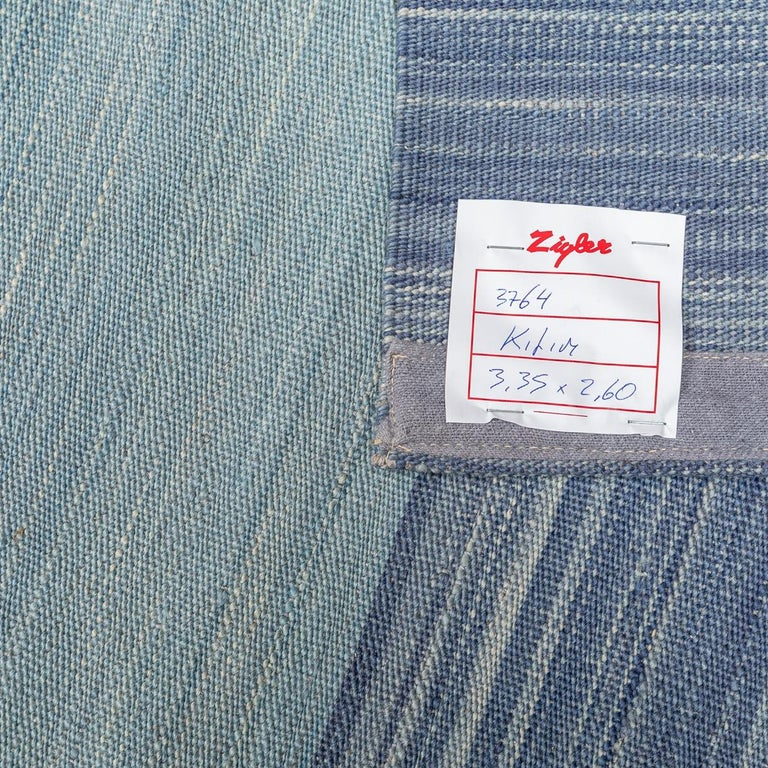Contemporary Kilim, Blue and Green Design over Wool For Sale 10