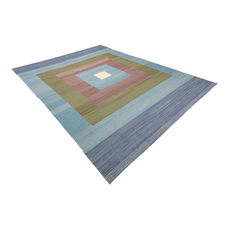 Pakistani Contemporary Kilim, Blue and Green Design over Wool For Sale