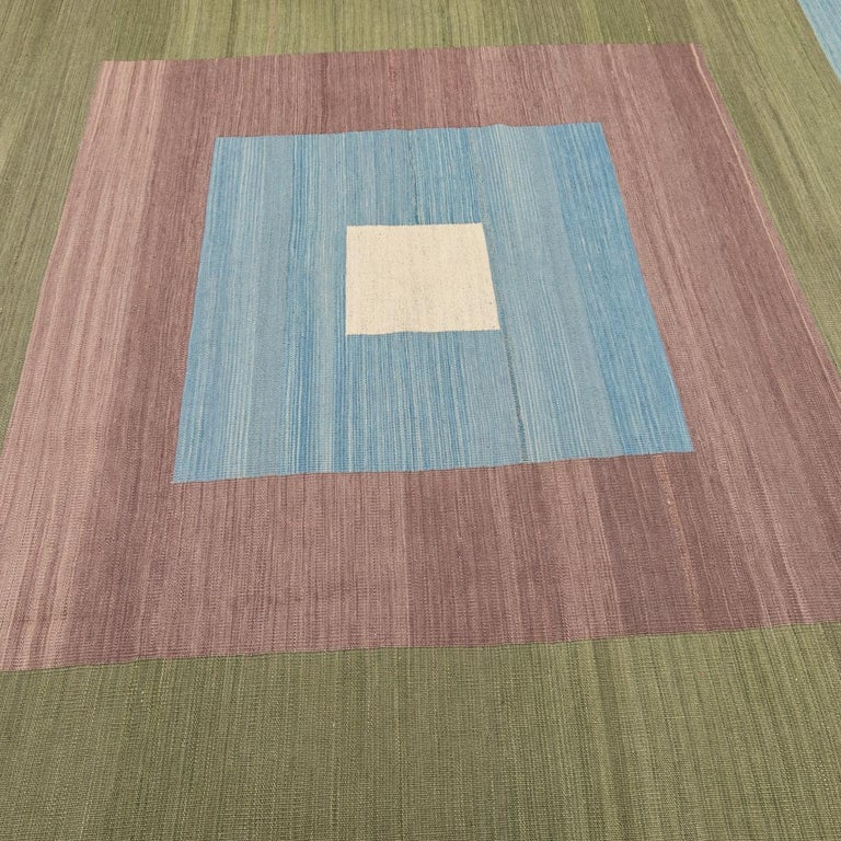 Contemporary Kilim, Blue and Green Design over Wool In New Condition For Sale In MADRID, ES