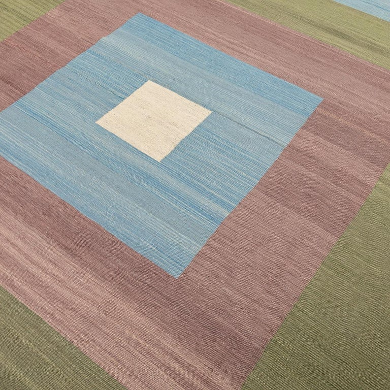 Contemporary Kilim, Blue and Green Design over Wool For Sale 1