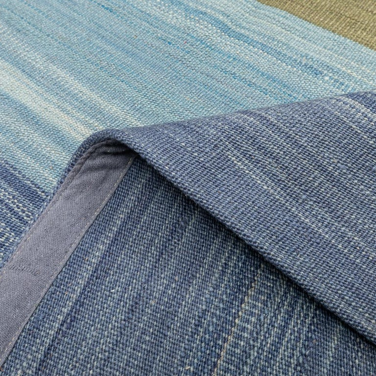 Contemporary Kilim, Blue and Green Design over Wool For Sale 2
