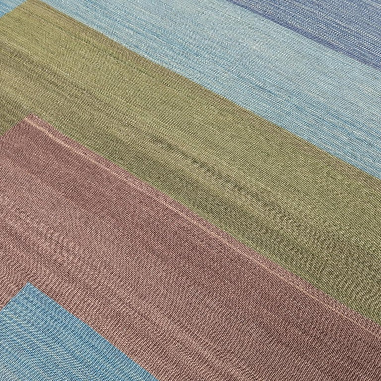 Contemporary Kilim, Blue and Green Design over Wool For Sale 3
