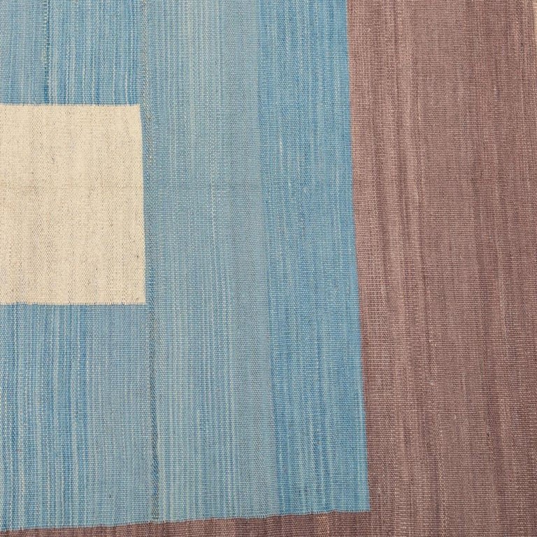 Contemporary Kilim, Blue and Green Design over Wool For Sale 4