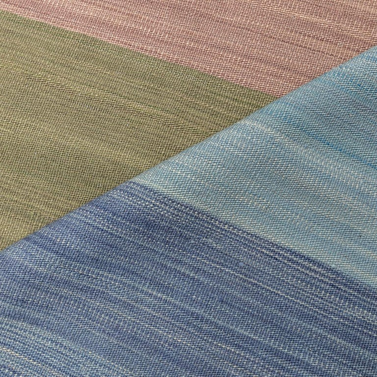 Contemporary Kilim, Blue and Green Design over Wool For Sale 5
