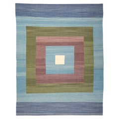 Contemporary Kilim, Blue and Green Design over Wool