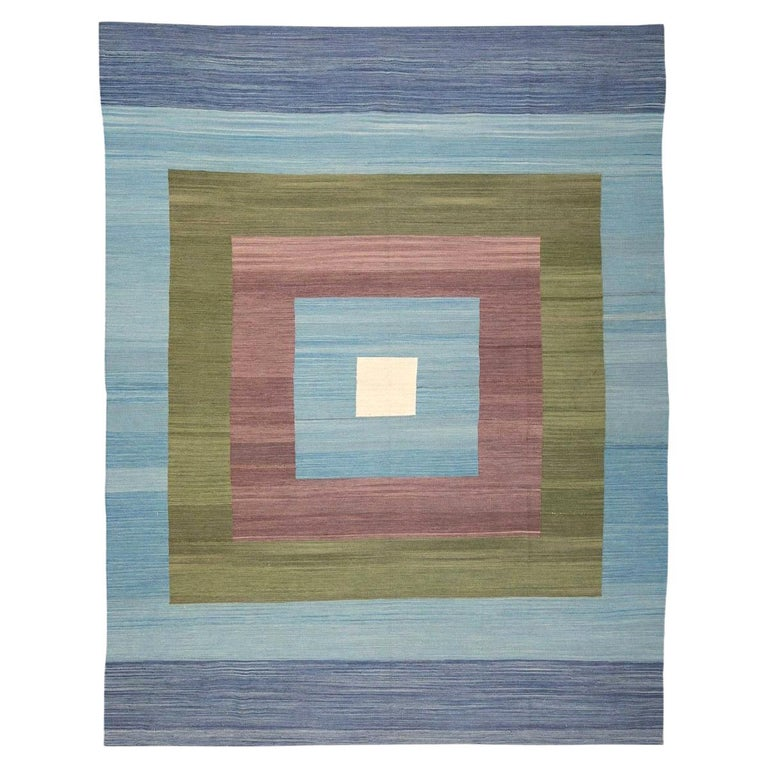 Contemporary Kilim, Blue and Green Design over Wool For Sale