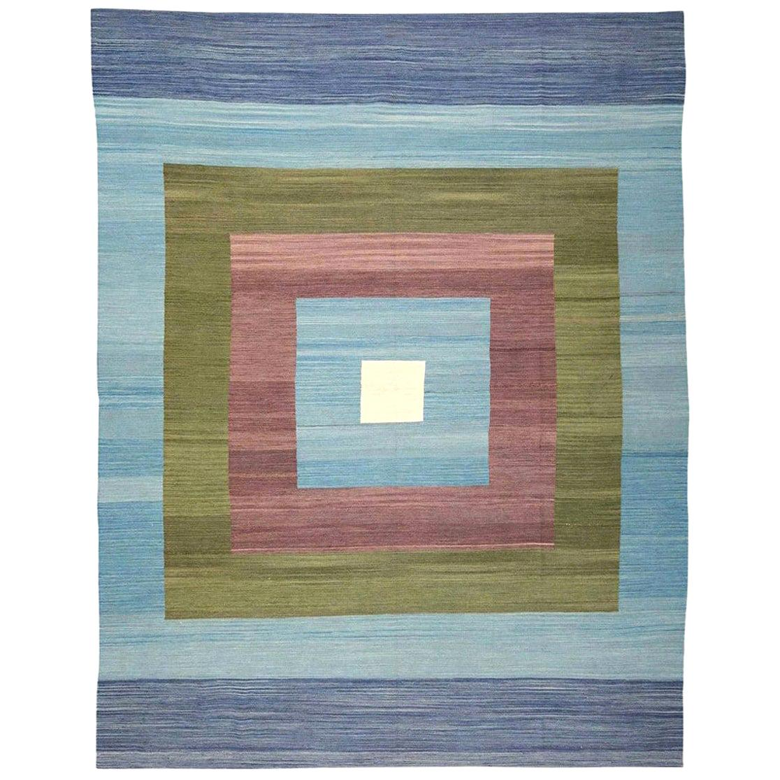 Contemporary Kilim, Blue and Green Design over Wool. 3,35 x 2,60 m