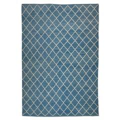 Contemporary Kilim, Blue and White Geometric Design.