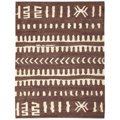 Contemporary Kilim, Brown and Beigafrican Flat-Weave, Etnhic and Tribal Design