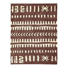 Contemporary Kilim, Brown and Beige African Flat-Weave, Ethnic and Tribal Design