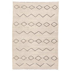 Contemporary Kilim, Ethnic Design over Beige and Black Colors