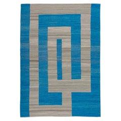 Contemporary Kilim, Geometric Design, Blue and Gray Colors